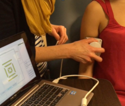 Electrical impedance myography being performed on an adult; the system shown is produced by Myolex, Inc.